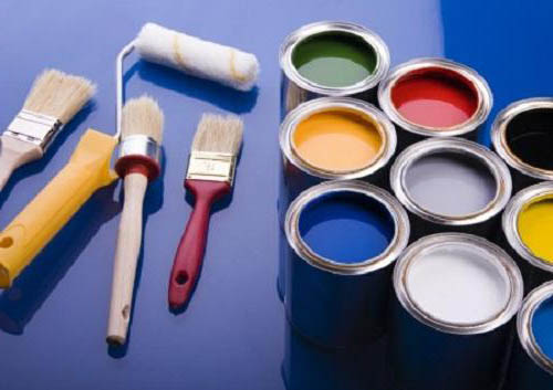 color boxes with brushes and rollers
