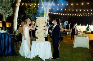 wedding games as giant jenga